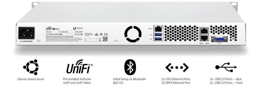 Mặt sau UniFi XG Server cổng kết nối linh hoạt